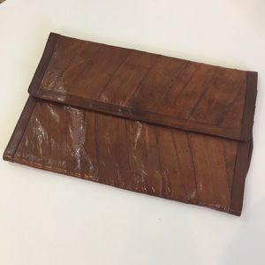 Eel Skin Brown Clutch Purse Envelope Bag